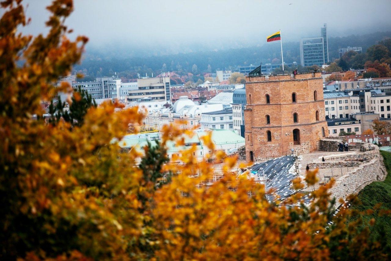 Здание с флагом Литвы