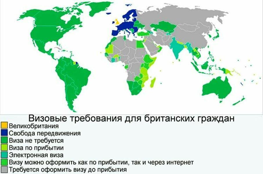 безвизовые страны для британцев